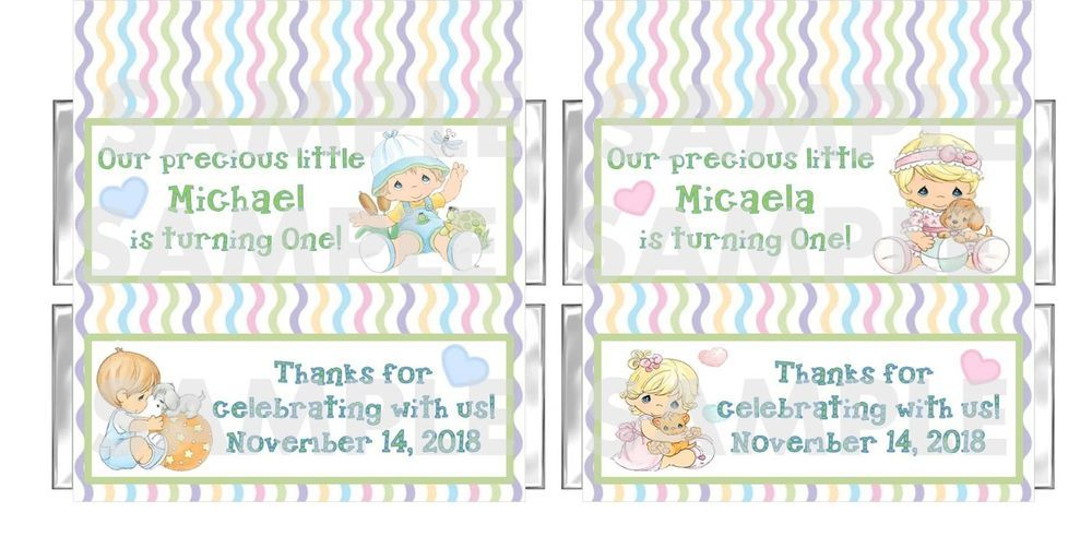 Personalized Boy Girl Precious Moments 1st Birthday Candy Bar Wrappers Free Foil In Home Ga Birthday Candy Bar Wrappers Candy Bar Birthday Candy Bar Wrappers