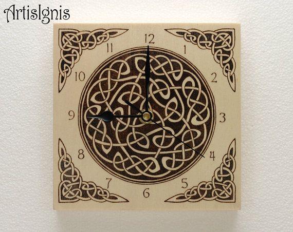 Celtic Knots Wall Clock, Handmade Square Wood Clock, Wood ...