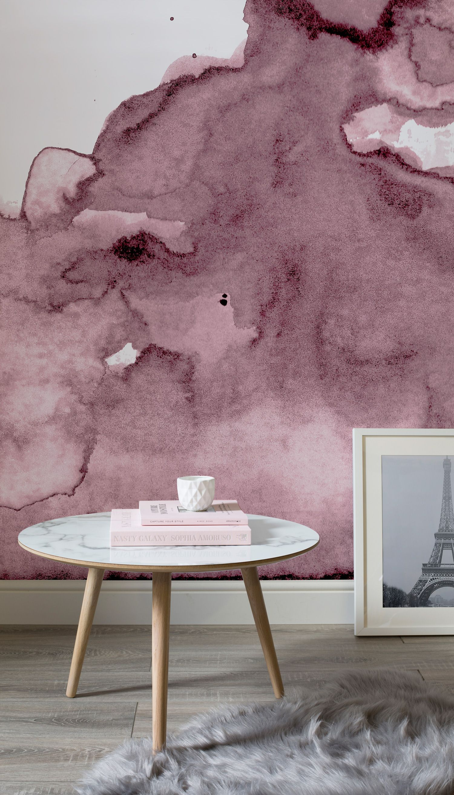 Dusty pink watercolor wall mural watercolor wallpaper for Pink living room wallpaper