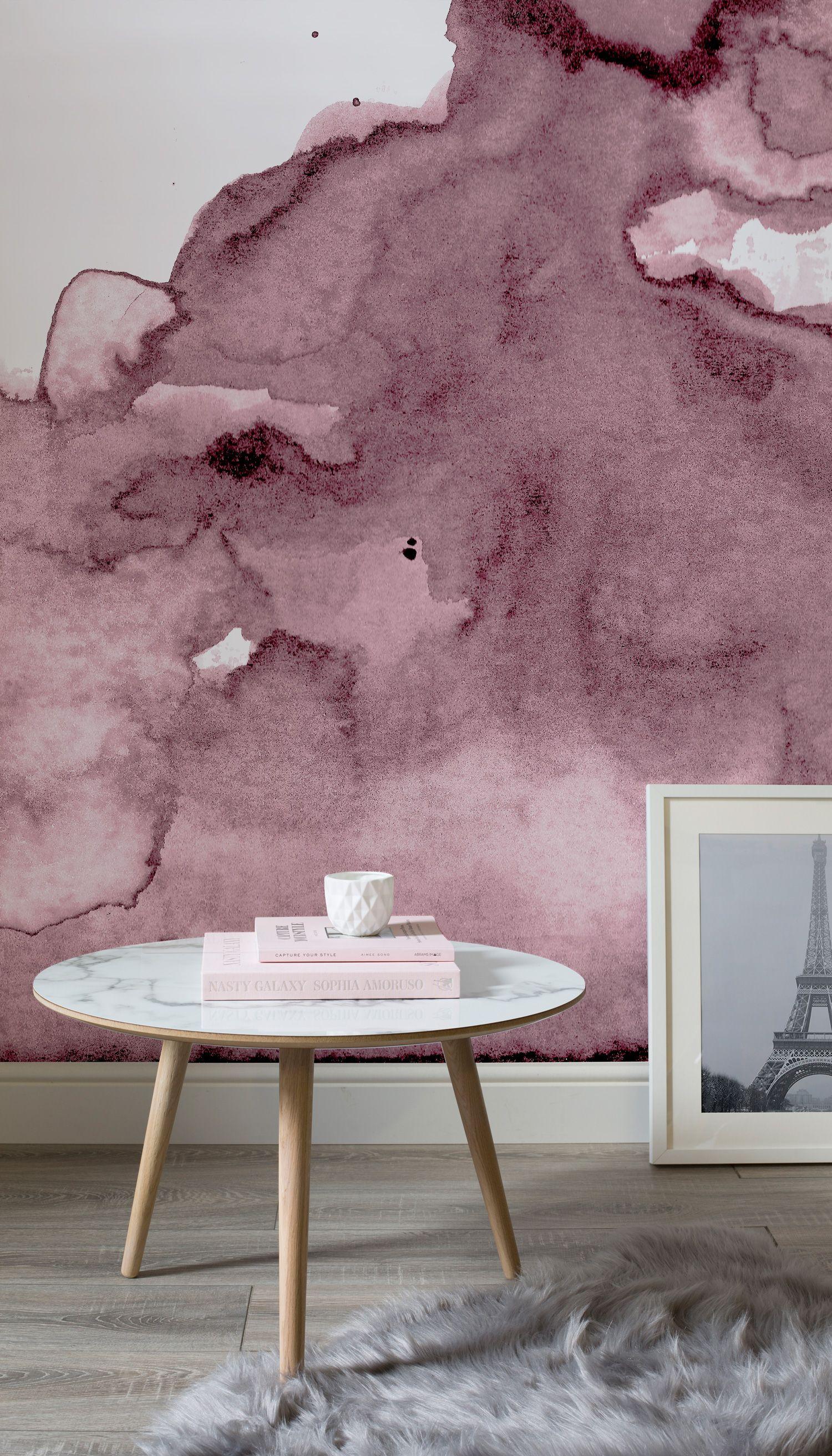 Dusty Pink Watercolor Wall Mural Vintage Einrichtungen Aquarell