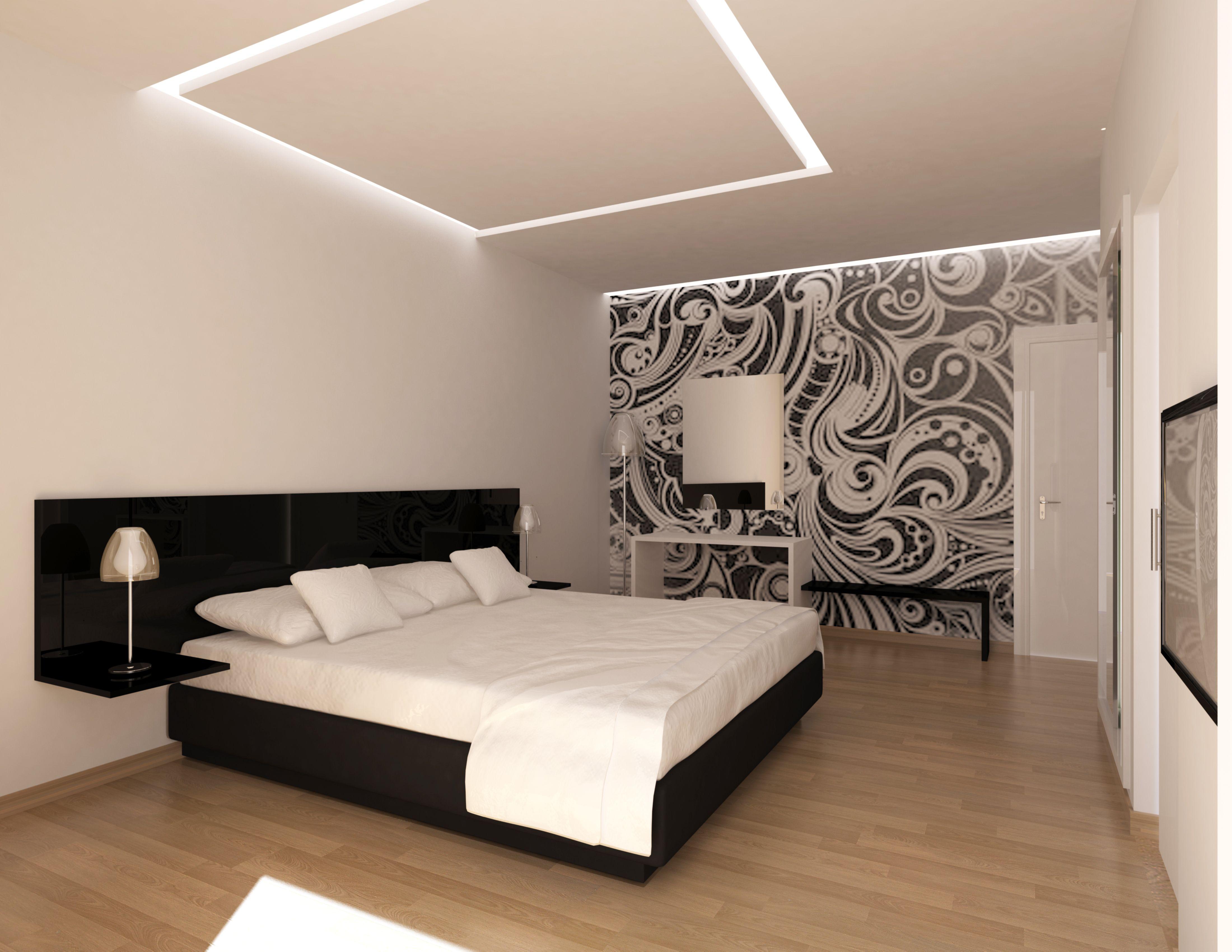3D propuesta de habitacin en Hotel de Playa de Mallorca Blancos y negros Luz indirecta cenital Luz Led Suelo madera SILESTURA STUD