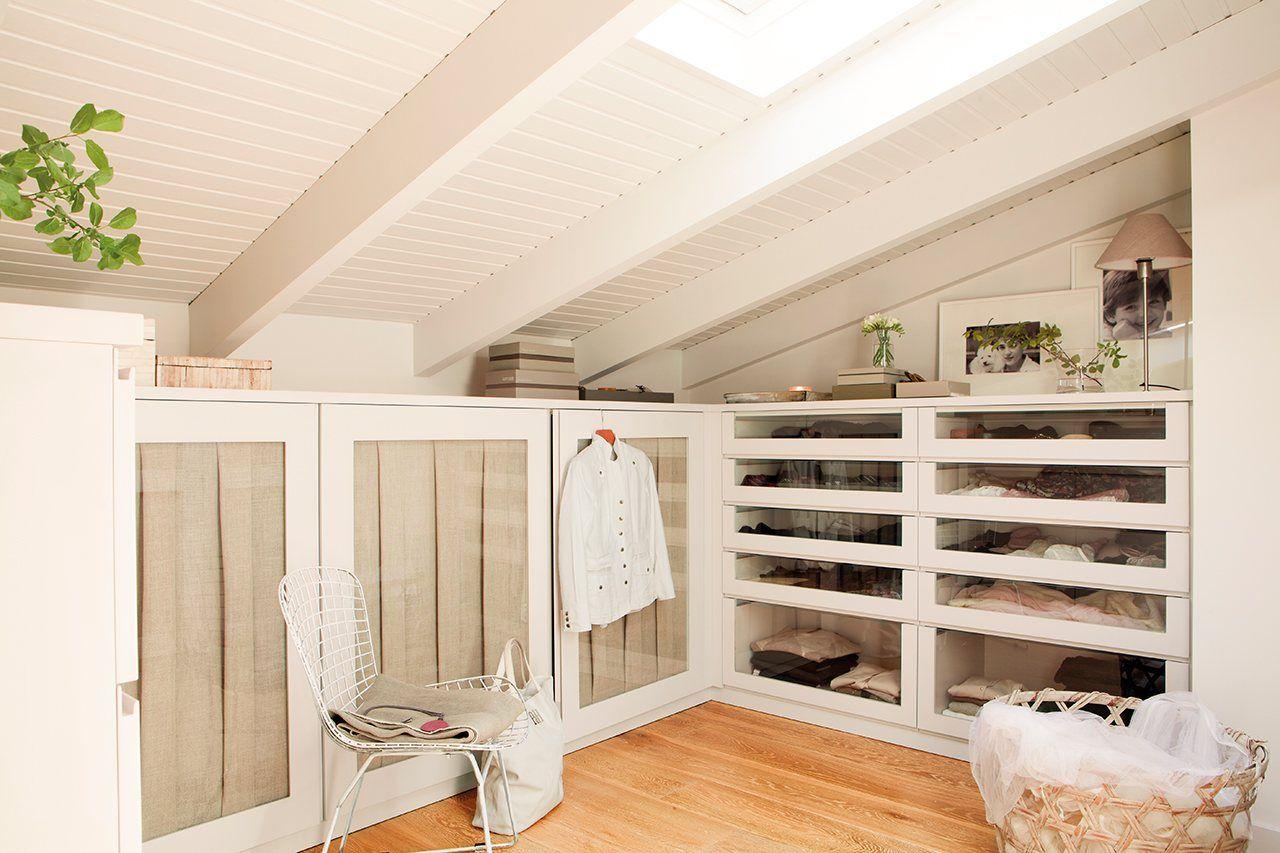 Vestidor de madera lacada y con cortinas de lino dise o - Armario blanco pequeno ...