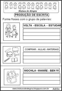 Formar Frases Alfabetização Atividades Atividades De