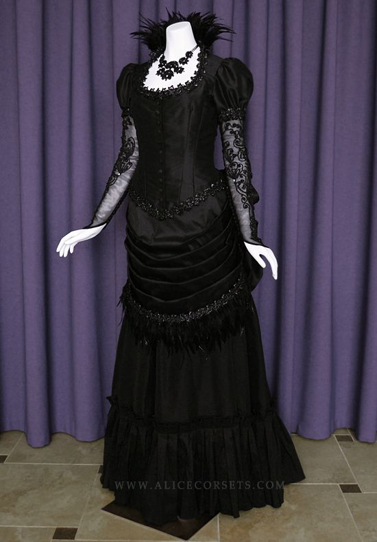 e42774f8d9d8 Victorian Steampunk Gothic Bustle Dress ~ Witch Vampire Ball Masquerade  Goth Bride Halloween Feathers Wedding Gown 19 century Period Costume by  Alice ...