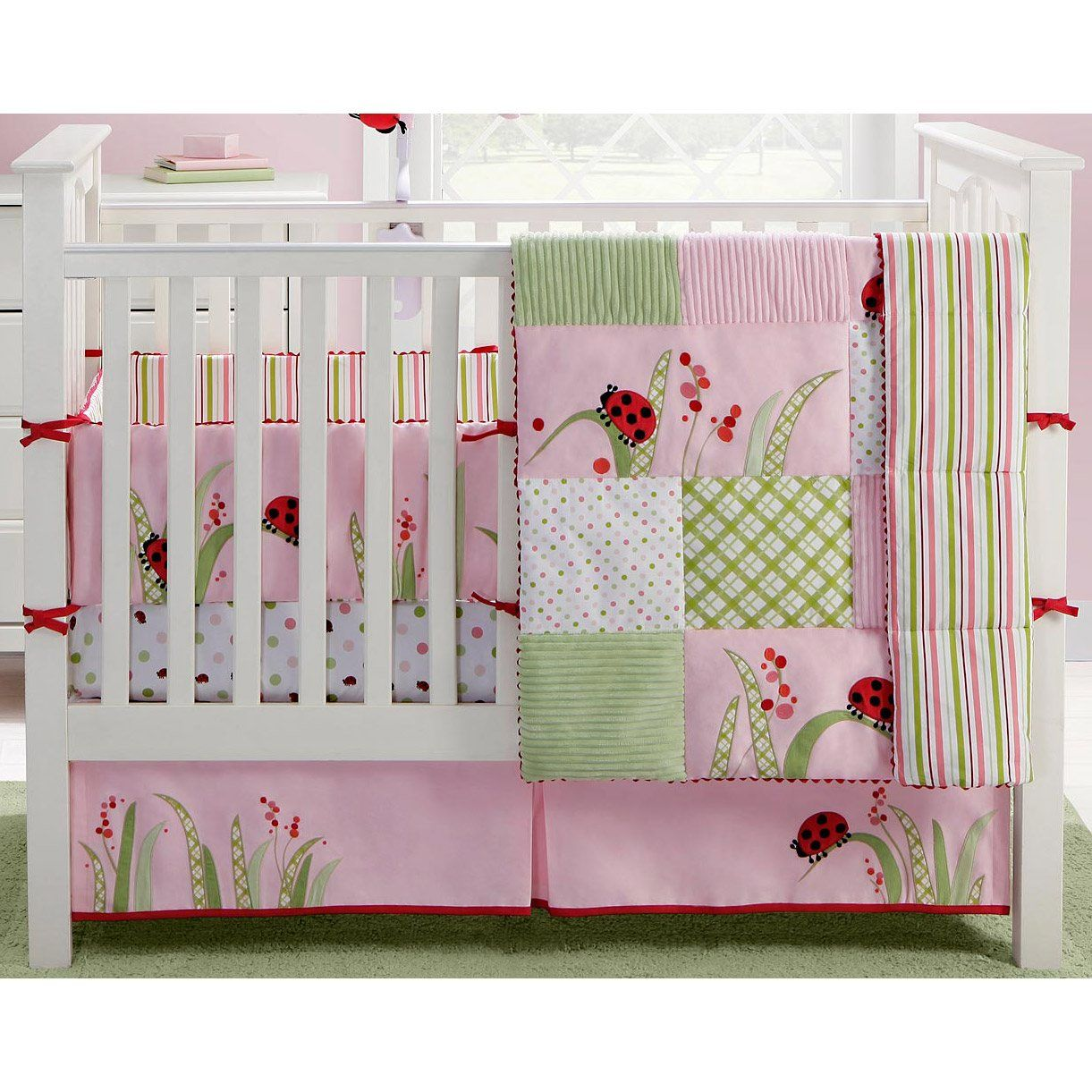 Discontinued Migi Lady Bug Pink Red And Green Patchwork 4 Piece Crib Set