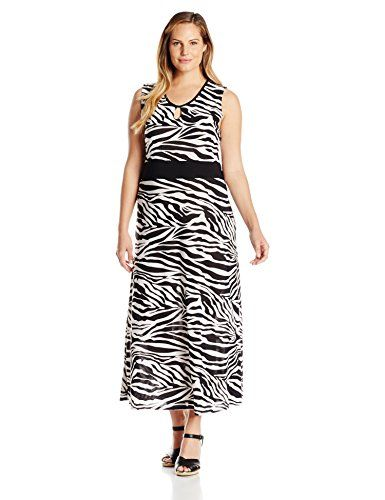 437cd7763d4ffa Star Vixen Womens Plus Size Sleeveless Keyhole Front Inset Waist Maxi Dress  BlackWhiteZebraBlack 2X ** You can get more details by clicking on the  image.