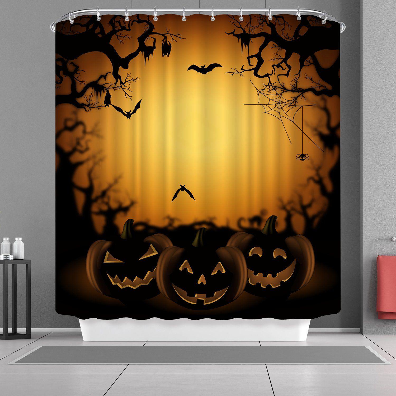 "72/""x72/"" Halloween Skulls Scary Bathroom Polyester Shower Curtain Fabric Mat NEw"