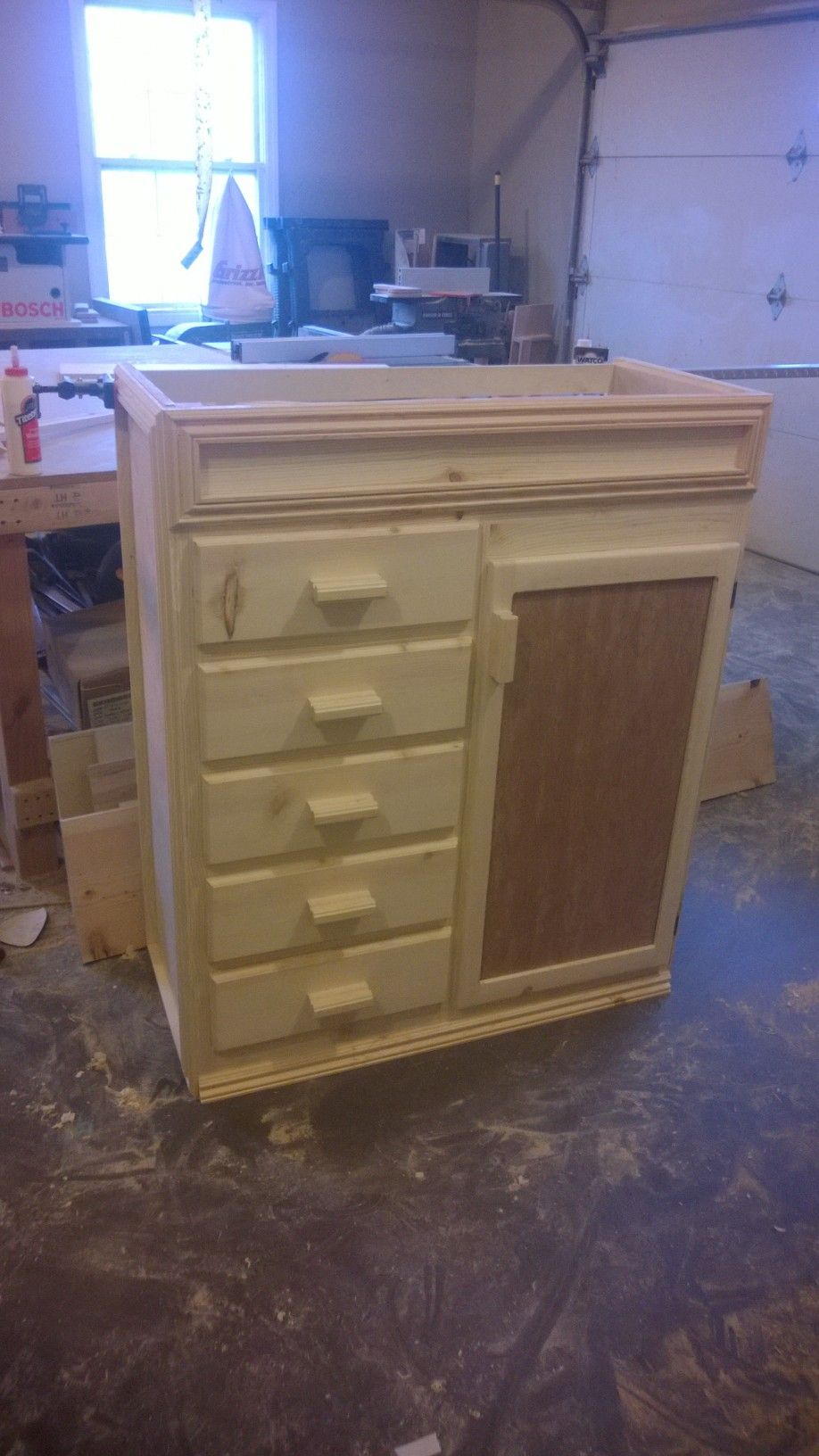 Armoire Changing Table. Solid Pine Hardwood With Birch Veneer And Single  Panel Mahogany Door.