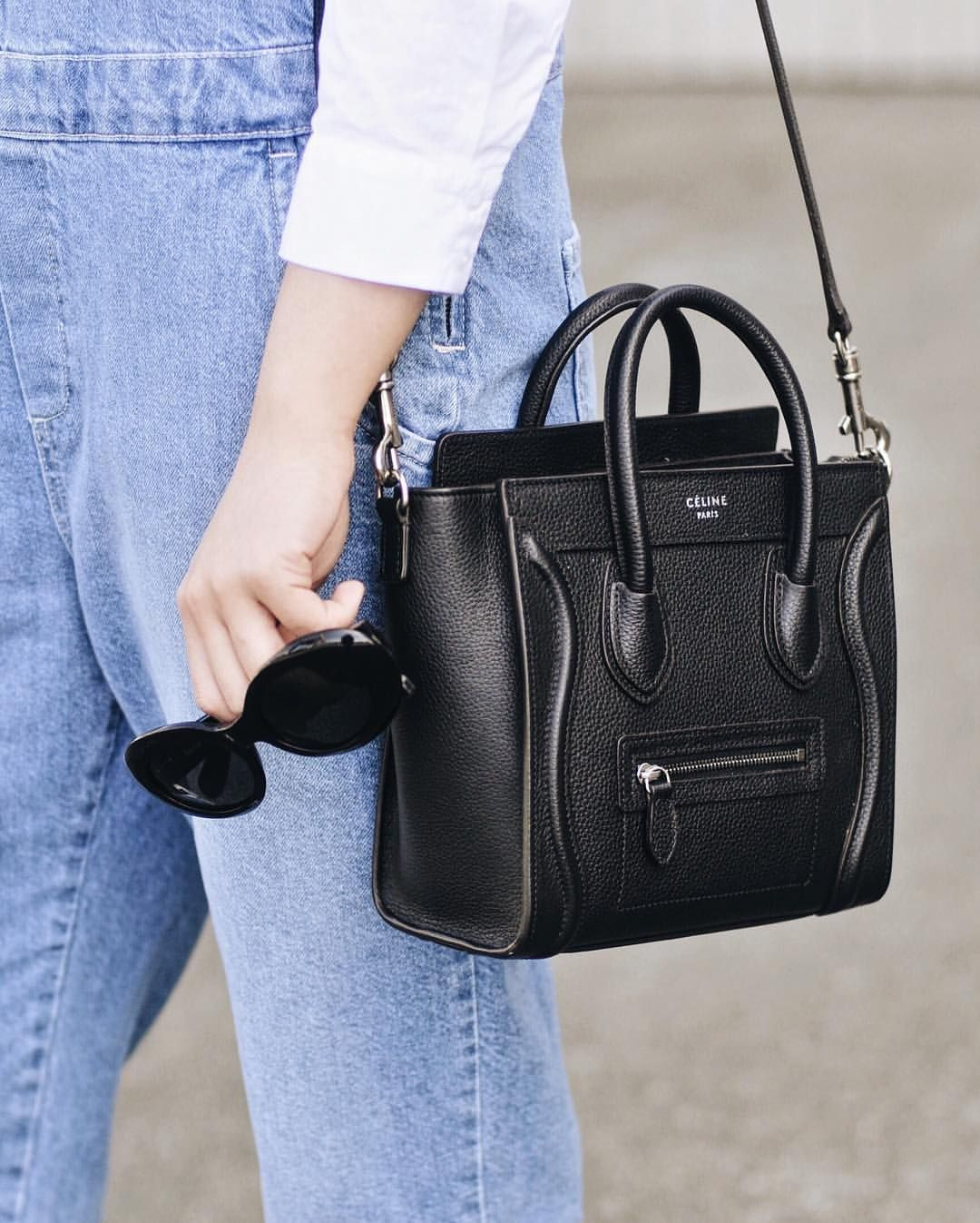 Instagram celine black nano drummed luggage tote handbags