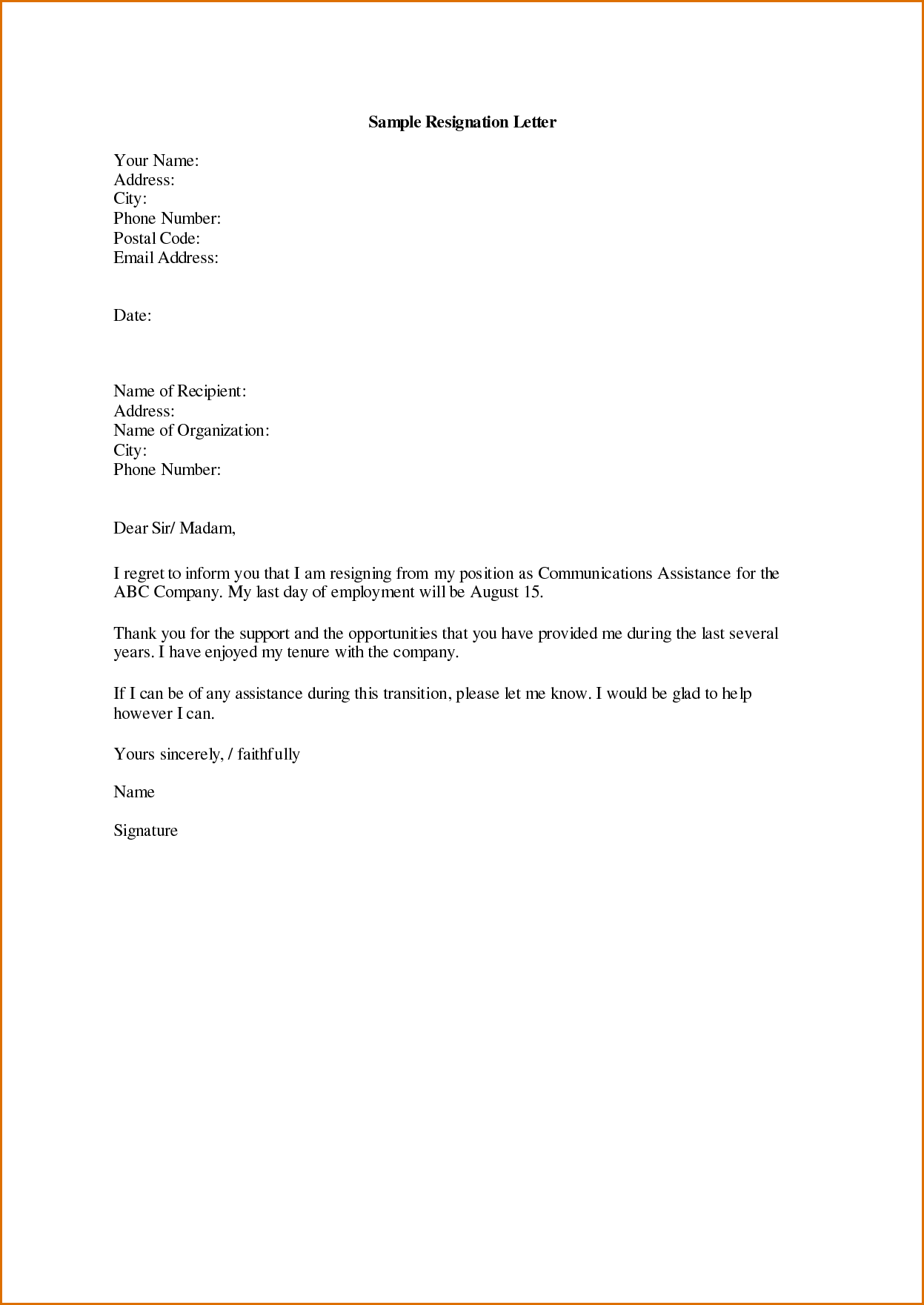 resignation letter - Template Letters Of Resignation