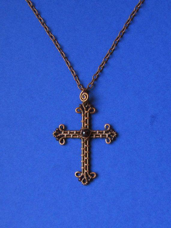 Draht-Wrapped Kreuz Halskette Anhänger Kupfer und von MagicWire ...