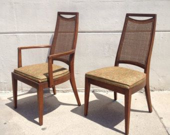 Pair Of Vintage Mid Century Modern Cane High Back Chairs