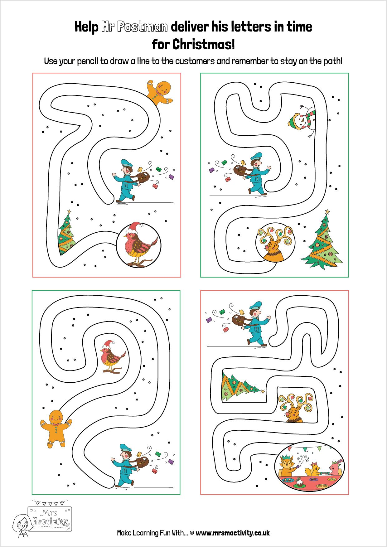 Christmas Pencil Control Maze   Printable mazes, Free ...