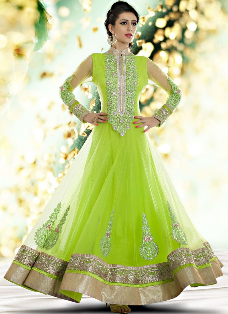 Shop this product from here httpsilkmuseumsurat love the neon bright color green net anarkali suit with embroidery and lace work ombrellifo Images