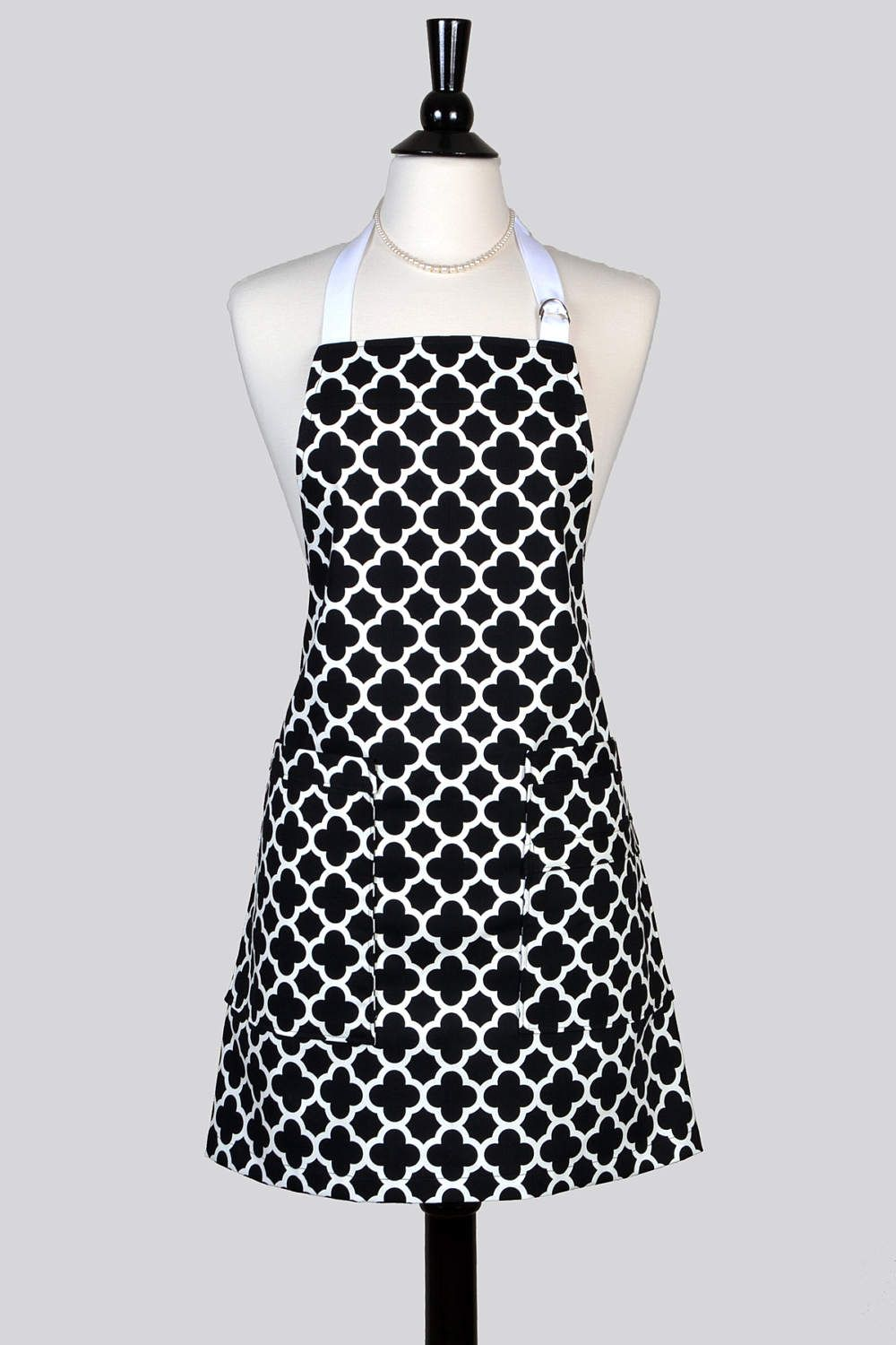 Womens Kitchen Apron Black And White Geometric Retro Vintage Chef Canvas  Apron With Two Large Pockets And Adjustable Neck Ties (DP)