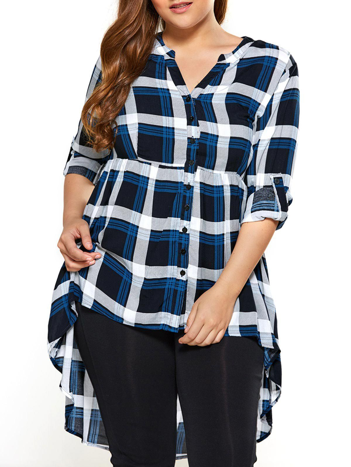 Plus Size Plaid High Low Hem Blouse In Checked Sammydress Com