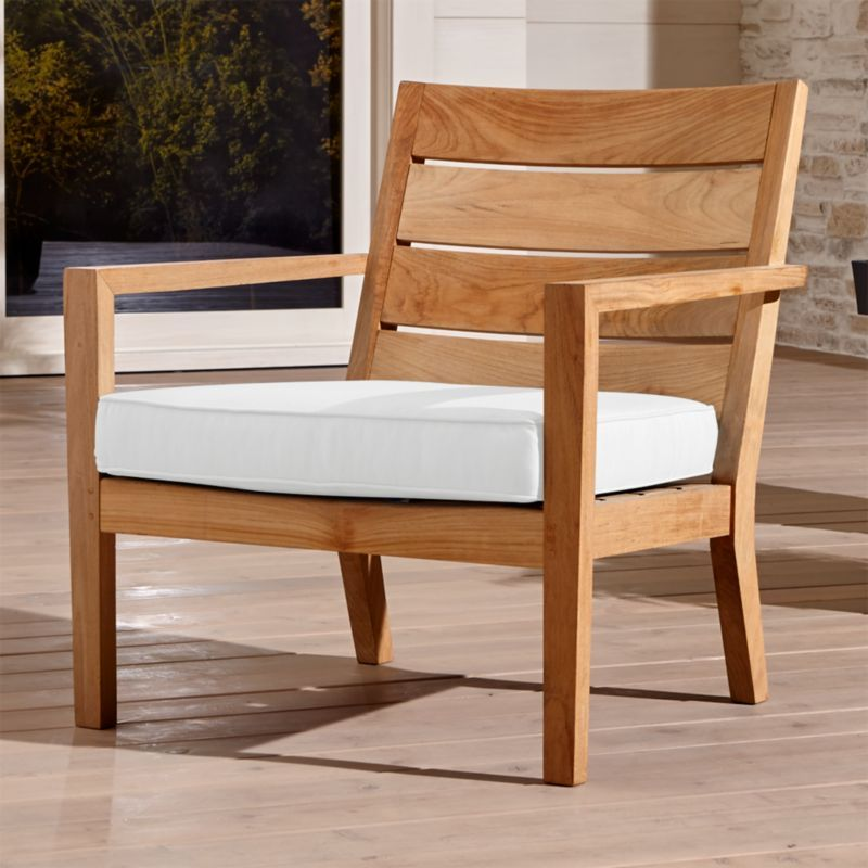 Shop Regatta White Outdoor Chair Cushion This Teak May Be Left Unfinished To Weather To Outdoor Wood Furniture Lounge Chair Outdoor Outdoor Furniture Cushions