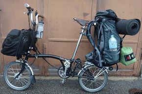 Hiking Pack On Brompton Carrying Luggage On A Folding Bike Brompton Tern Brompton Bicycle Folding Bike Bicycle