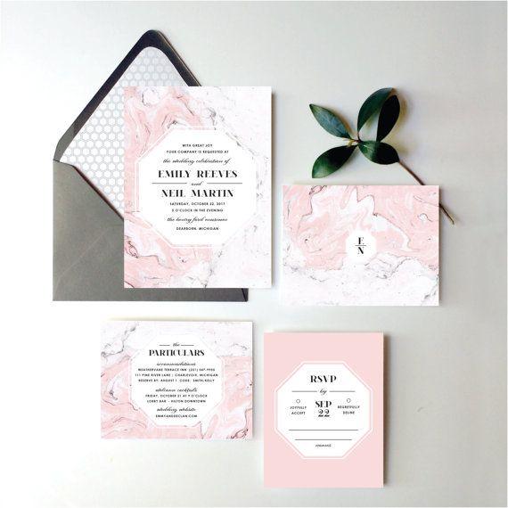 Blush Pink Marble Wedding Invitation Suite   Blush Pink Wedding Invite