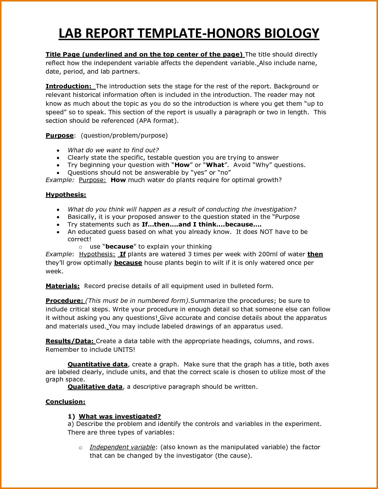 Lab Report Abstract Example Template Biology Labs For