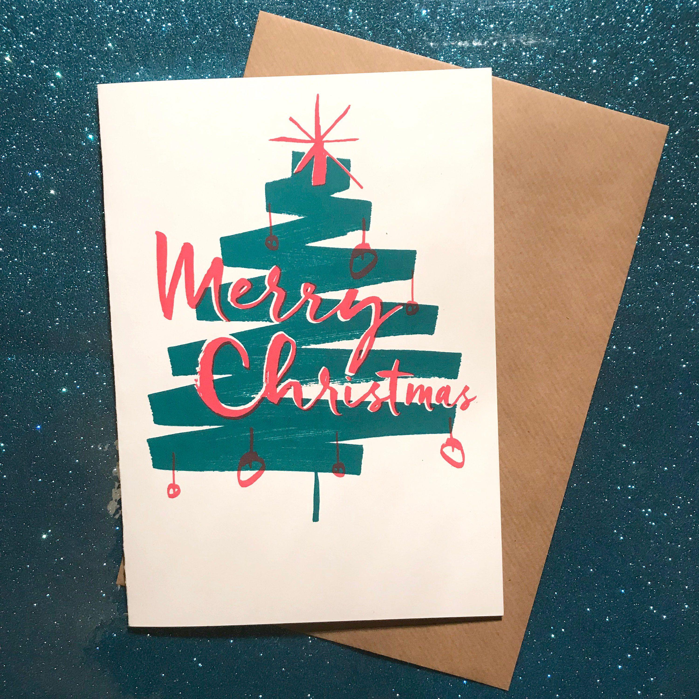 Christmas greetings card screen print handmade original