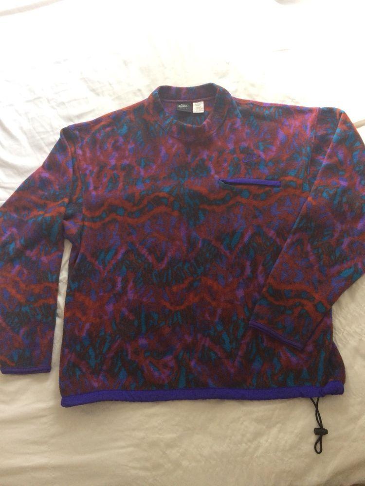 Vintage Nike F I T Aztech Fleece Sweatshirts Rare Fresh Prince Size Large Fashion Clothi Black Cotton Sweatshirt Mens Fleece Hoodie Hooded Jacket Sweatshirts