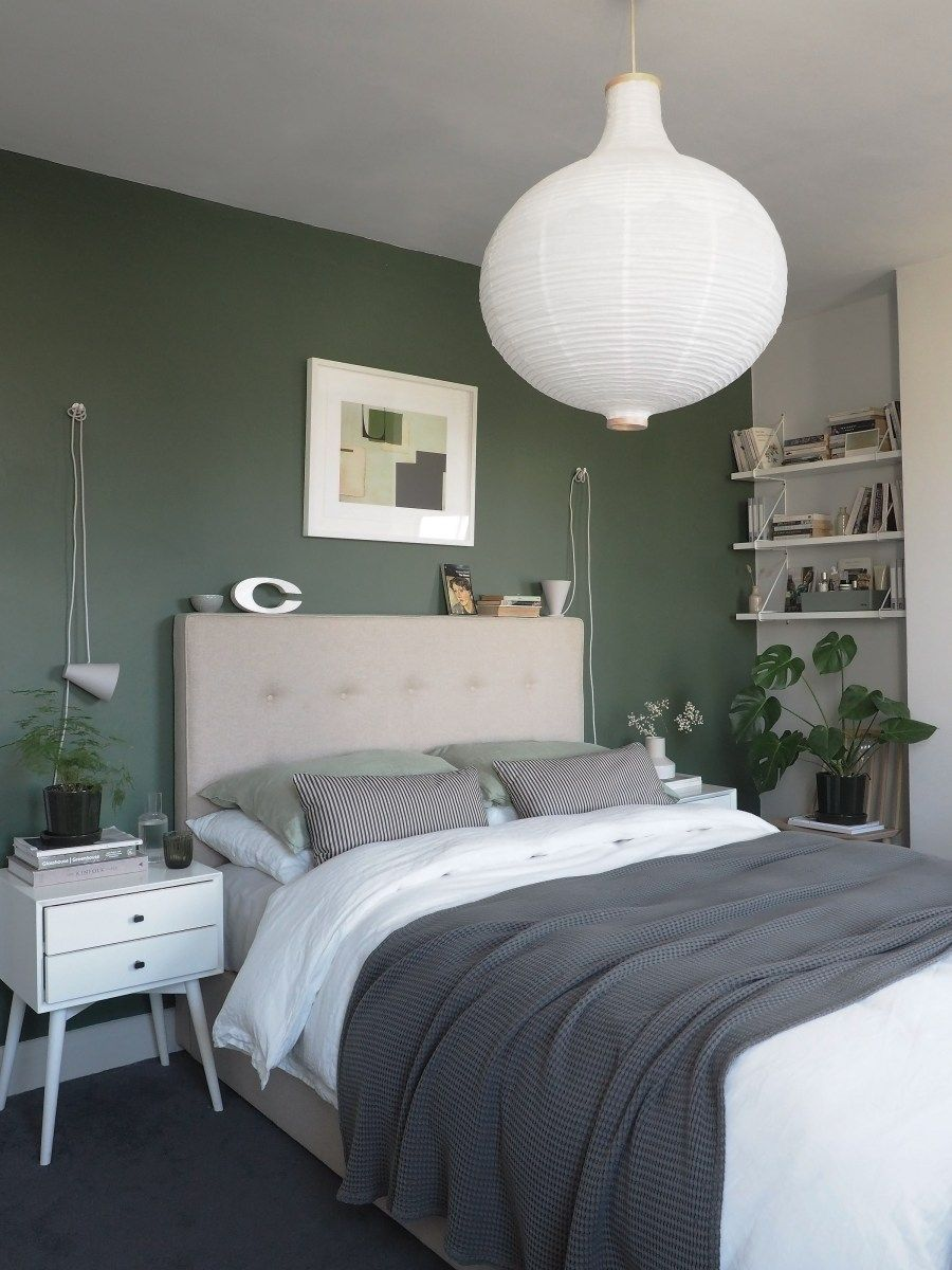 A simple, soothing, botanical green bedroom makeover the