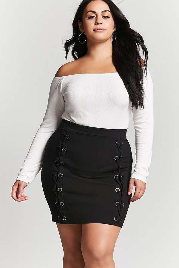 2f382215cef Lace-up Plus Size Mini Skirt. aff