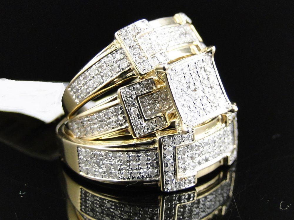 Diamond Trio Set Yellow Gold Finish Ladies Engagement Ring Men S
