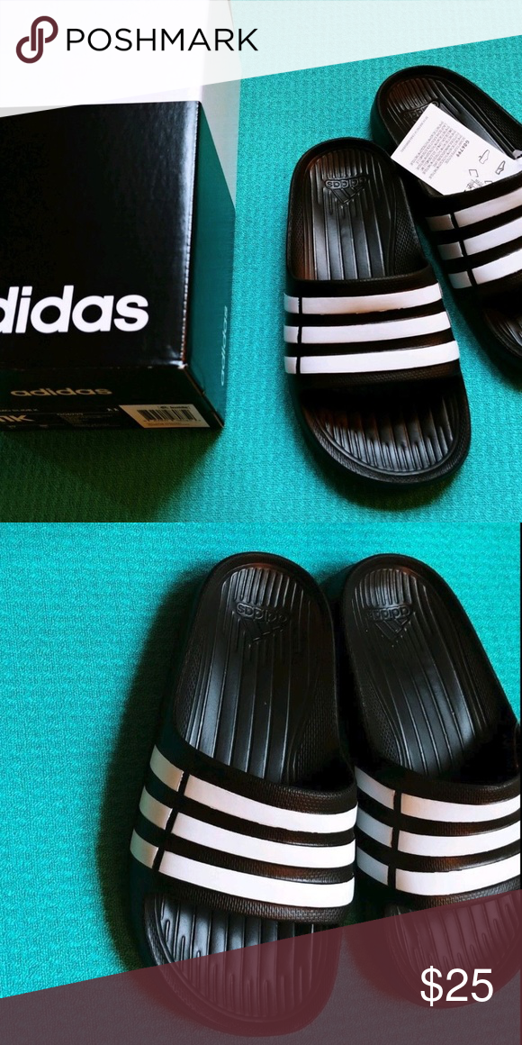 05e9b41a5 Adidas men slides size 11 - new in box New in box. Black with white ...