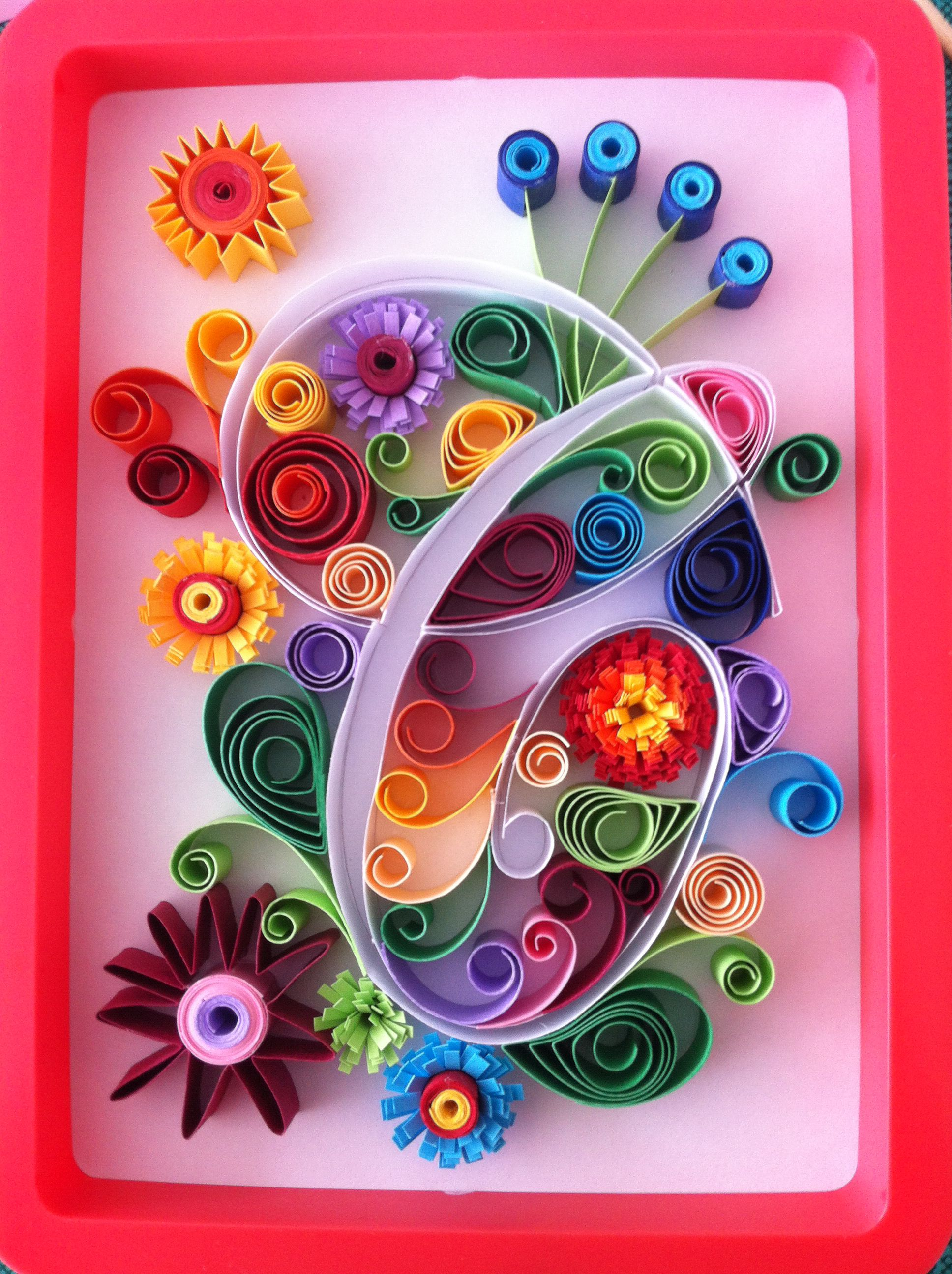 Quilled paper art on canvas board blue swirly flower unique home decor mixed media products pinterest quilling and also rh