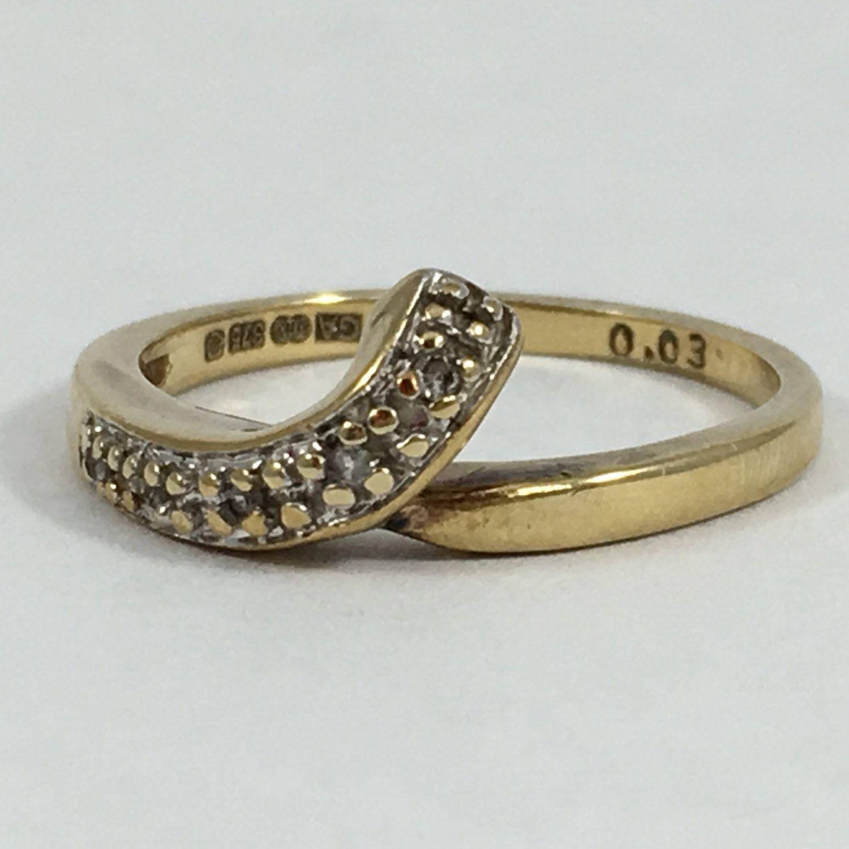Vintage Diamond Wishbone Band 9K Yellow Gold Setting Unique