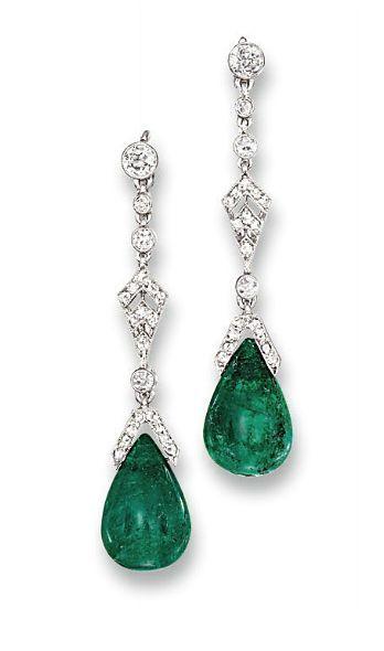 A Pair Of Belleepoque Emerald And Diamond Ear Pendants By Cartier Circa 1915