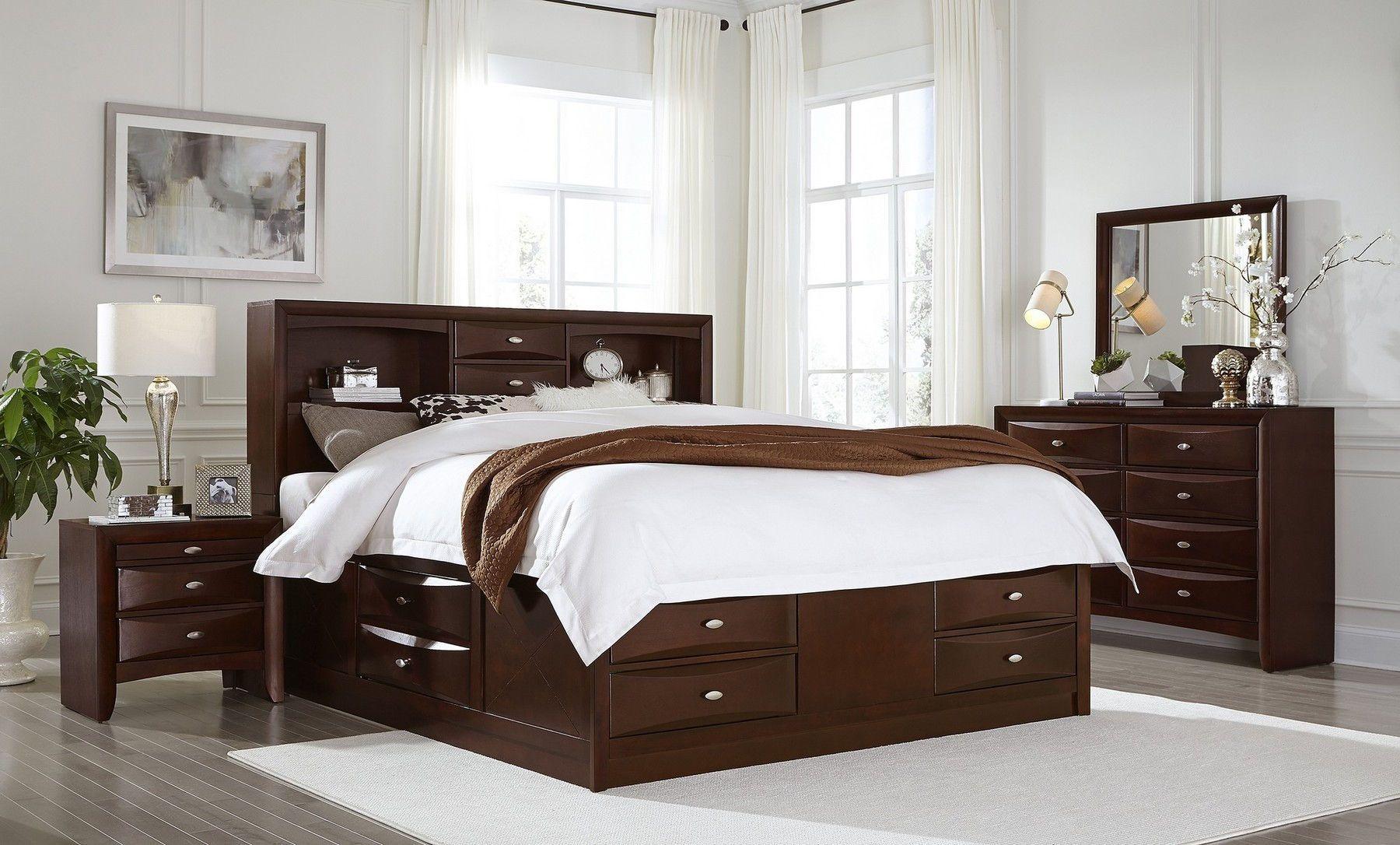 Global Usa Linda Queen Set Merlot Modern Wood 5pcs Bedroom Set