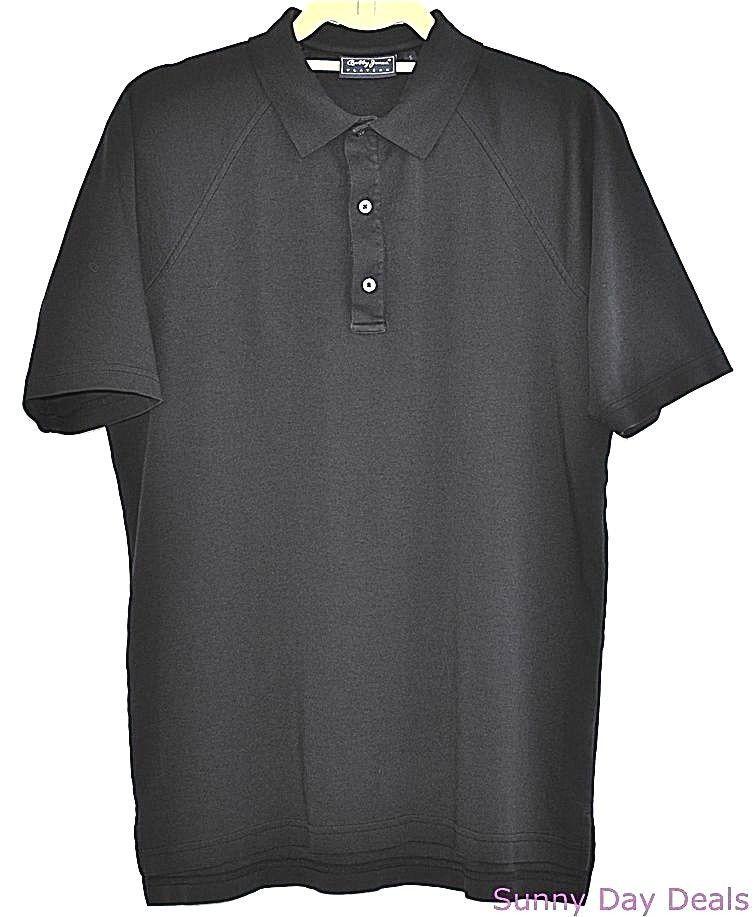 Bobby Jones Golf Polo Cotton Shirt Mens Players Short Sleeve Solid Black S…