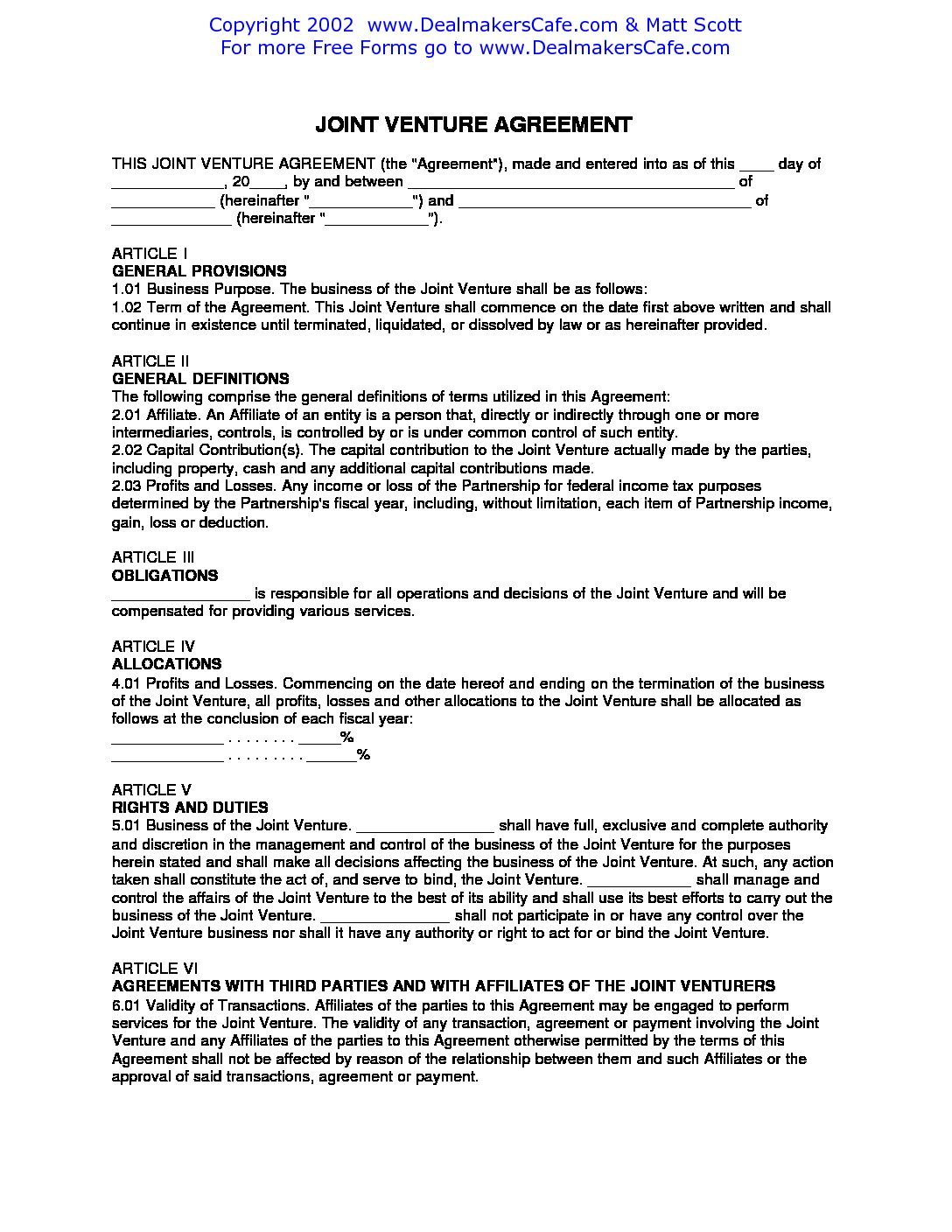 Example Join Venture Agreement Template Joint Venture Agreement