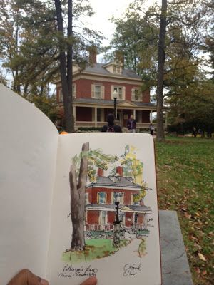 Prash - house portrait - urban sketchers, sketchbook, travel diary, art journal.
