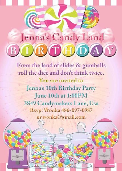 Candy land candy party birthday invitation custom printable 4x6 candy land birthday party invites or candy party invites wording and colors can be changed stopboris Images