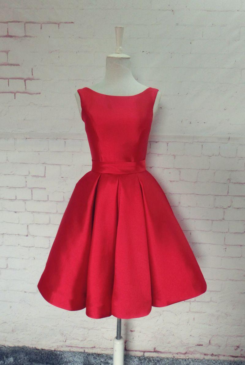新娘晚禮服雙肩顯瘦性感露背紅色緞面敬酒服伴娘妹姐團年會短禮服 in