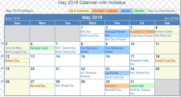 May 2019 Calendar With Holidays Uk Federal Holiday Calendar Holiday Calendar 2019 Calendar