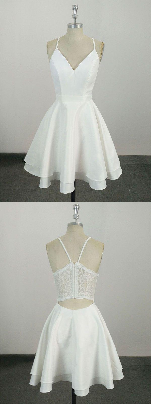 White v neck satin lace short prom dress white homecoming dress in