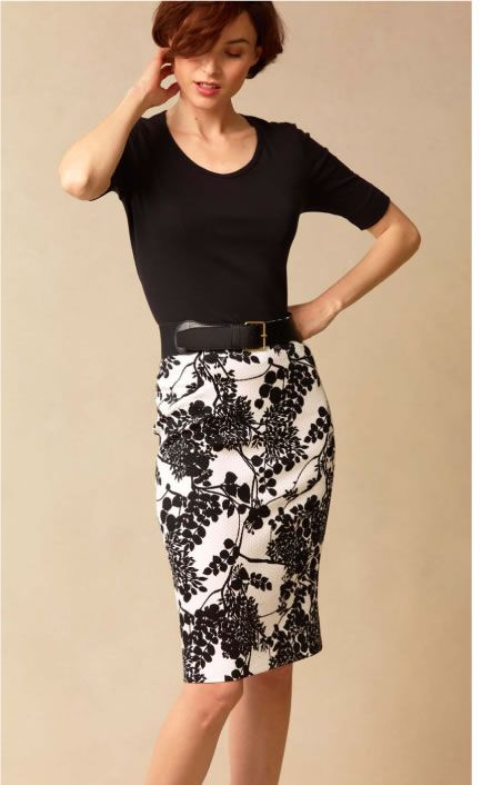 Another funky skirt to go with black top and red pumps | Work ...