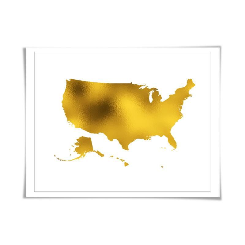United States Map Gold Foil Art Print. 7 Foil Colours/3 Sizes ...