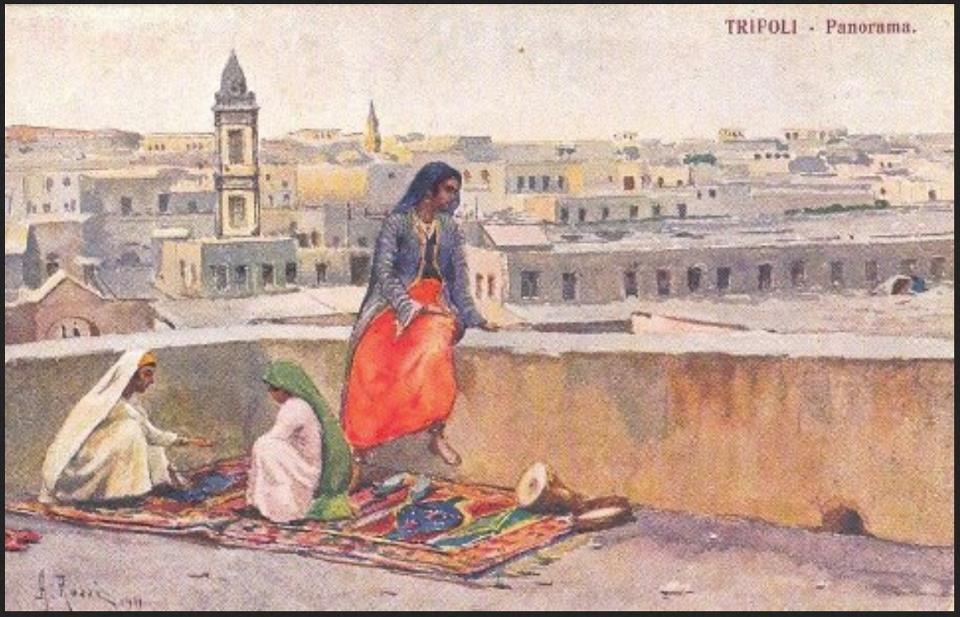 Painting Of Libyans In Old City Tripoli Libya Drawing People Libya Painting