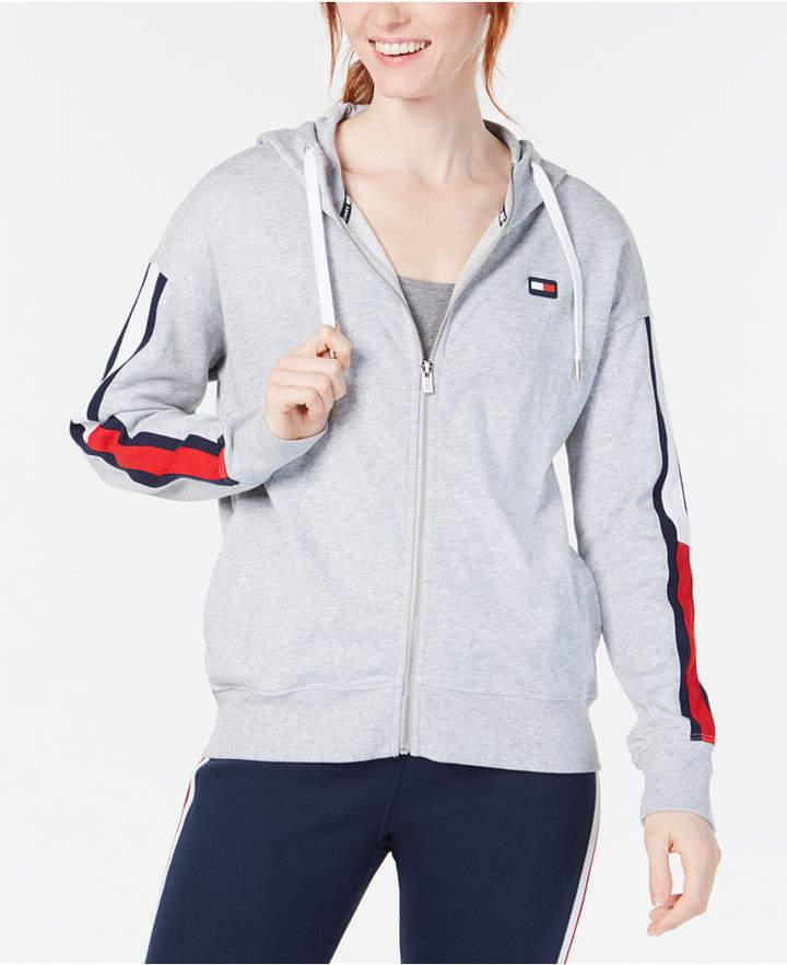 Tommy Hilfiger Logo Sleeves Zip Up Hoodie Tommy Hilfiger Hoodies Womens Dress With Sneakers