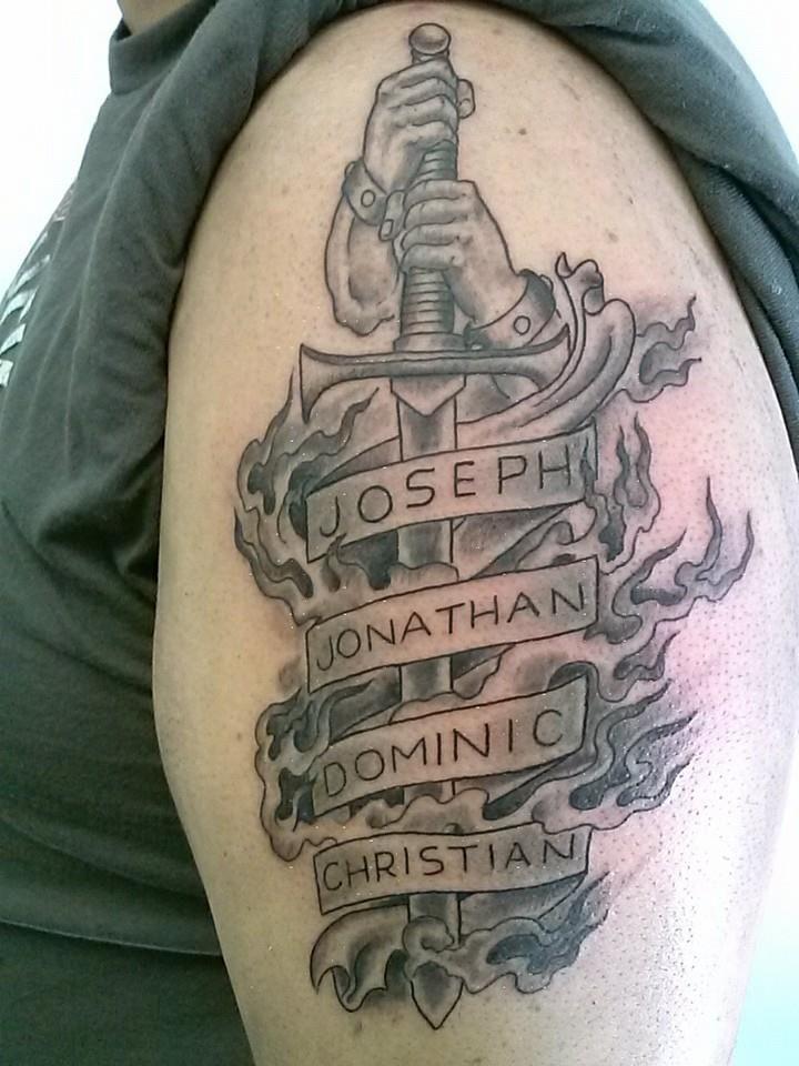 St Michael Sword Family Tattoo Thanks Scott Mikeyfishhook