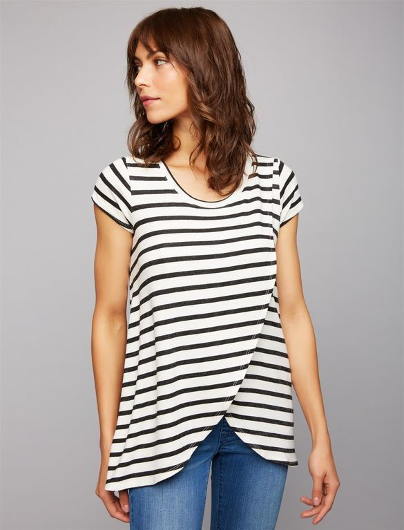 a0257ce88150f French Terry Striped Nursing Tee, Pull Over Nursing Tee from A Pea In The  Pod. Nursing shirt, breastfeeding shirt, breastfeeding clothes.