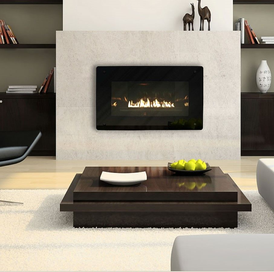 Images gas fireplace with white brick background google search wood stoves pinterest gas - Contemporary fireplace insert for a warm living room ...