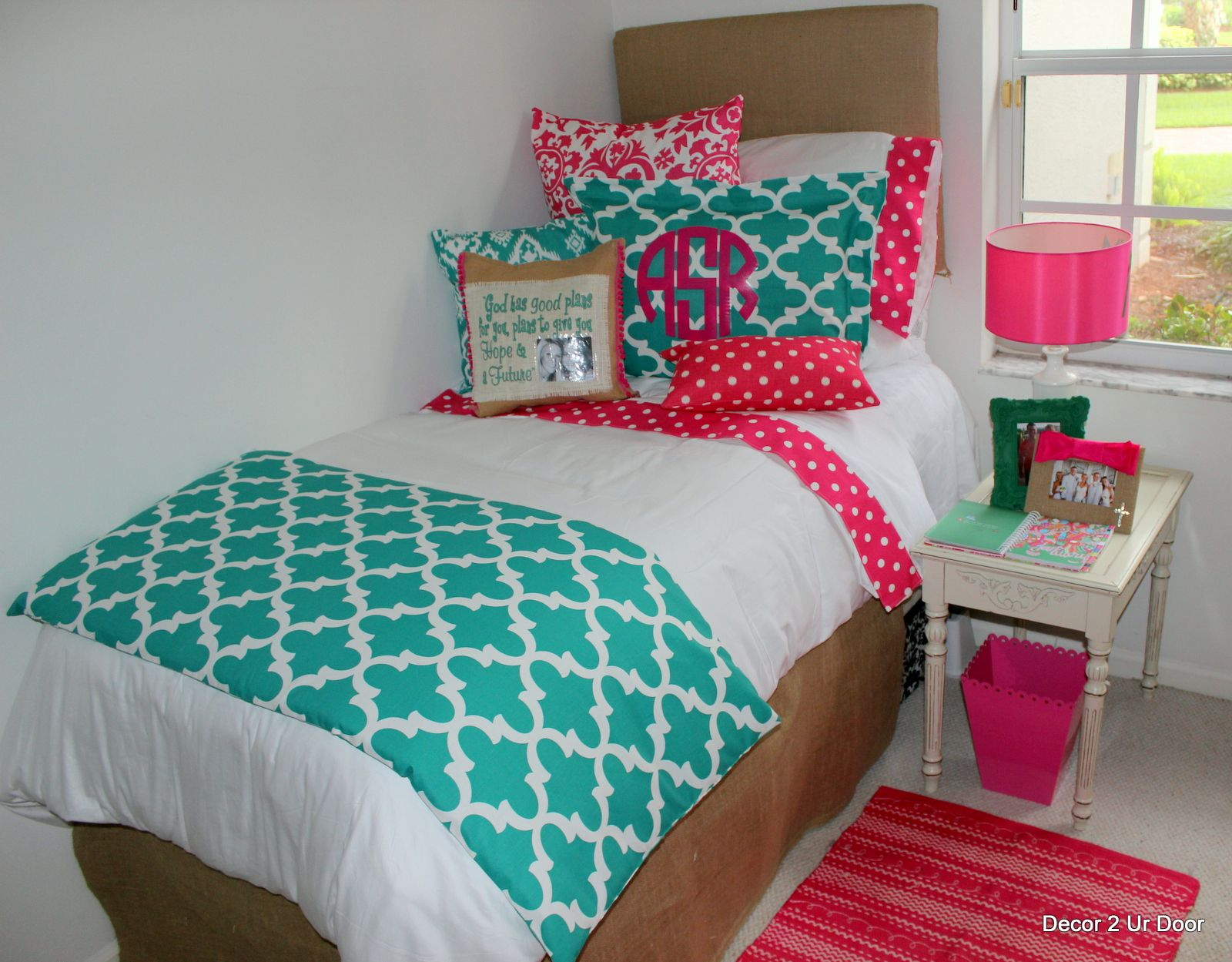 Teal And Pink Bedroom Decor Teal And Hot Pink Dorm Room Designs 2014dormroom Colorfuldorm