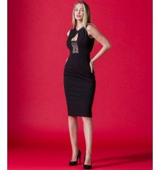 01a28547cb16 Pencil Κρεπ Φόρεμα με Δαντέλα - Μαύρο